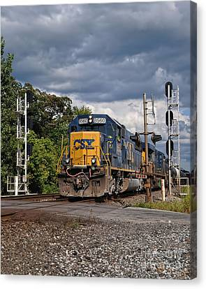 Csx Train Headed West Canvas Print by Pamela Baker