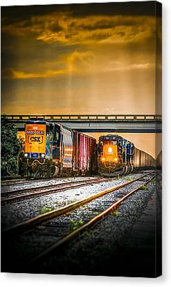 Csx Train Canvas Print - Csx Two For One by Marvin Spates