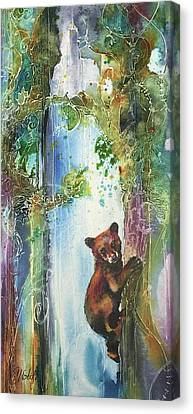 Canvas Print featuring the painting Cub Bear Climbing by Christy Freeman