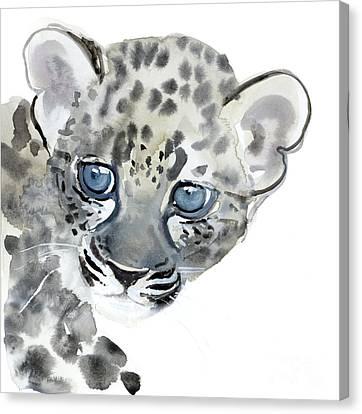 Leopard Canvas Print - Cub by Mark Adlington