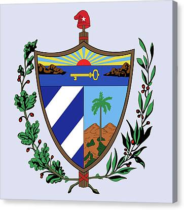 Canvas Print featuring the drawing Cuba Coat Of Arms by Movie Poster Prints