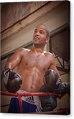 Canvas Print featuring the photograph Cuban Boxer Ready For Sparring by Joan Carroll