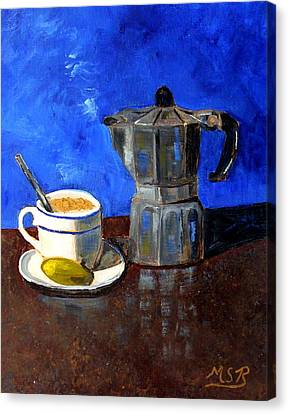 Cuban Coffee And Lime Blue Canvas Print by Maria Soto Robbins