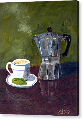Cuban Coffee And Lime Green Canvas Print by Maria Soto Robbins