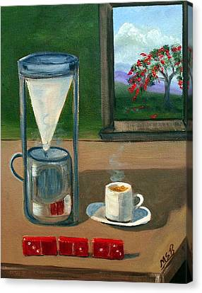 Royal Poinciana Canvas Print - Cuban Coffee Dominos And Royal Poinciana by Maria Soto Robbins
