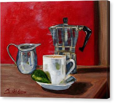 Cuban Coffee Lime And Creamer Canvas Print by Maria Soto Robbins