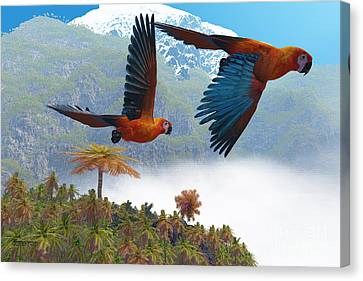 Cuban Red Macaw Canvas Print by Corey Ford