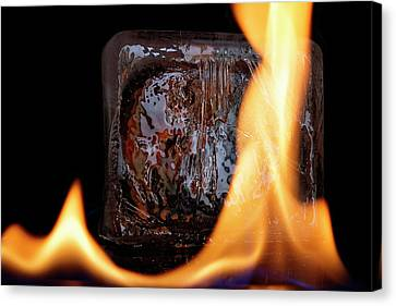 Canvas Print featuring the photograph Cube On Fire by Rico Besserdich