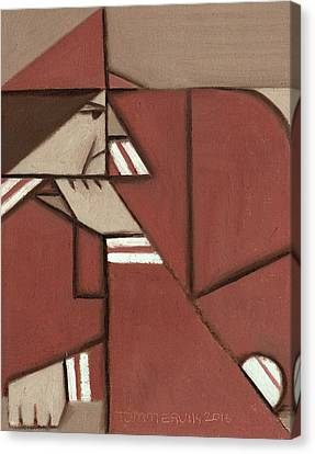 Canvas Print featuring the painting Cubism Pete Rose Art Print by Tommervik