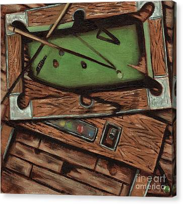 Canvas Print featuring the painting Cubism Pool Table Billiard Art Print by Tommervik