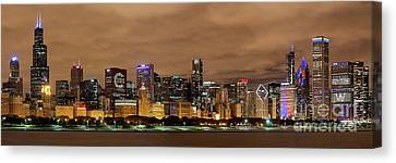 Cubs Skyline Canvas Print by Jeff Lewis