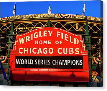 National League Canvas Print - Cubs Win World Series by Andrew Soundarajan