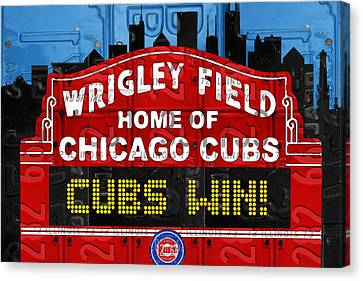 Cubs Canvas Print - Cubs Win Wrigley Field Chicago Illinois Recycled Vintage License Plate Baseball Team Art by Design Turnpike
