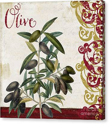Cucina Italiana Olives Canvas Print by Mindy Sommers