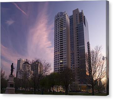 Canvas Print featuring the photograph Cudahy Towers by Peter Skiba