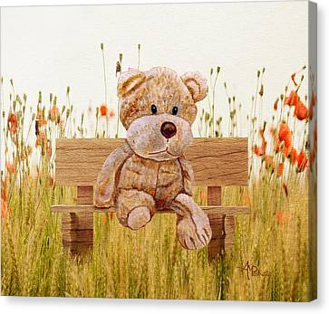 Kids Card Canvas Print - Cuddly In The Garden by Angeles M Pomata