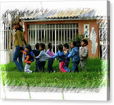Troupe Canvas Print - Cuenca Kids 980 by Al Bourassa