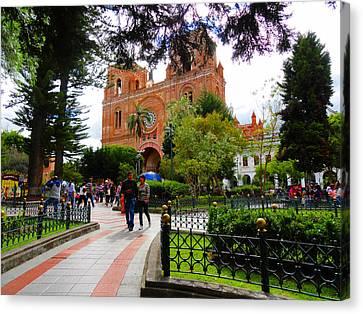 Cuenca Parque Calderon Y Santa Ana Canvas Print by Al Bourassa