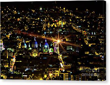 Canvas Print featuring the photograph Cuenca's Historic District At Night by Al Bourassa