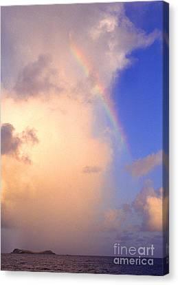 Culebra Rain Cloud And Rainbow Canvas Print by Thomas R Fletcher