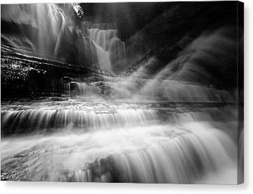 Cummins Falls In Black And White Canvas Print