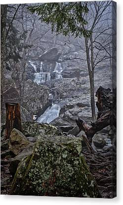 Canvas Print featuring the photograph Cunningham Falls In The Rain And Fog by Mark Dodd