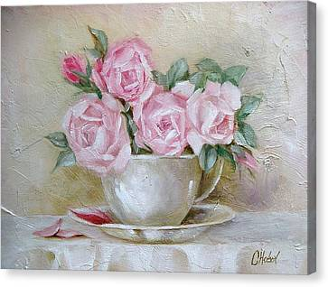 Canvas Print featuring the painting Cup And Saucer Roses by Chris Hobel