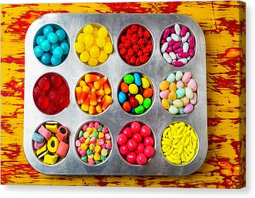 Cup Cake Tray Full Of Candy Canvas Print by Garry Gay