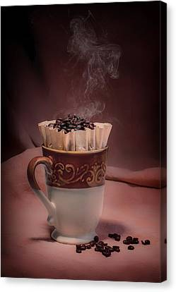 Coffee Beans Canvas Print - Cup Of Hot Coffee by Tom Mc Nemar