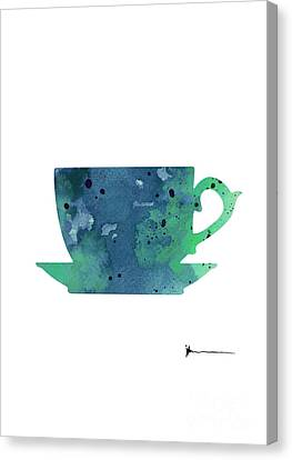 Cup Of Tea Painting Watercolor Art Print Canvas Print by Joanna Szmerdt