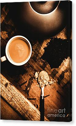 Cup Of Tea With Ingredients And Kettle On Wooden Table Canvas Print by Jorgo Photography - Wall Art Gallery