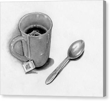 Cup Of Tea With Spoon, Pencil Drawing Canvas Print by Joyce Geleynse