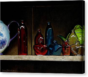 Cupboard Bottles Canvas Print by Doug Strickland