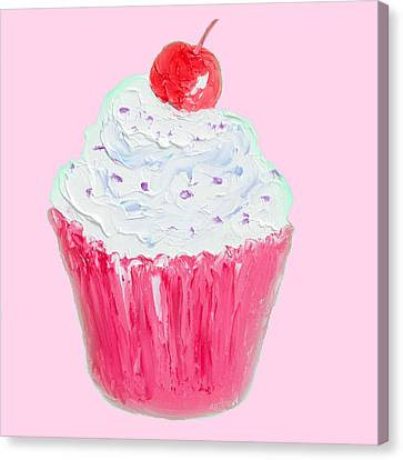 Cupcake Painting On Pink Background Canvas Print