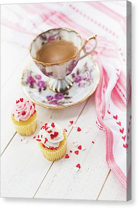 Canvas Print featuring the photograph Cupcakes And Coffee by Rebecca Cozart