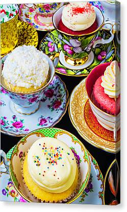 Cupcakes In Tea Cups Canvas Print by Garry Gay