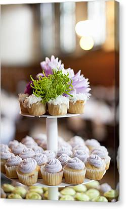 Cupcakes On Stand Canvas Print by Ikonica