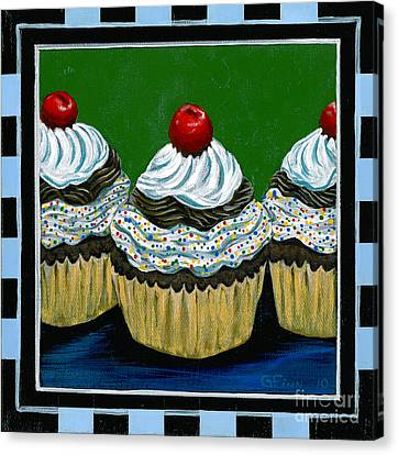 Cupcakes With A Cherry On Top Canvas Print by Gail Finn