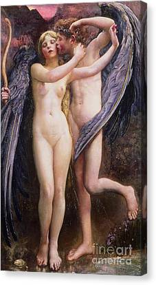 Cupid And Psyche Canvas Print by Annie Louisa Swynnerton