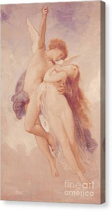 Cupid And Psyche Canvas Print by William Adolphe Bouguereau