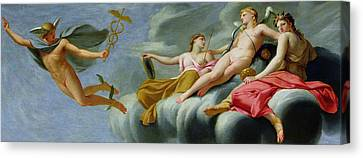 The Universe Canvas Print - Cupid Orders Mercury To Announce The Power Of Love To The Universe by Eustache Le Sueur