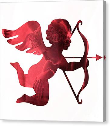 Cupid Psyche Valentine Art - Eros Psyche Valentine Cupid With Arrow Print - Red Valentine Art  Canvas Print by Kathy Fornal