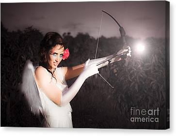 Cupid With Bow And Rose Arrow Canvas Print
