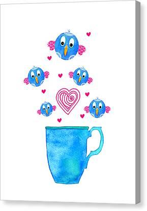 Cuppa Series - Birdie Java Canvas Print by Moon Stumpp
