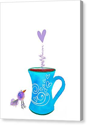 Cuppa Series -cuppa Happy Canvas Print by Moon Stumpp