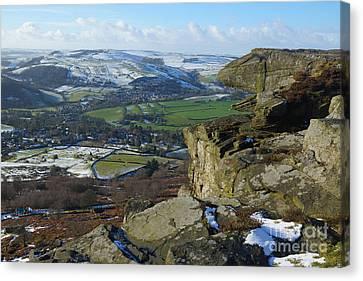Curbar Edge Rock Formation Canvas Print by David Birchall