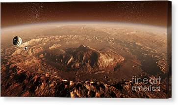 Curiosity Rover Descending Into Gale Canvas Print by Steven Hobbs