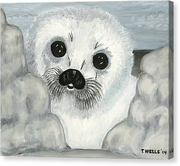 Curious Arctic Seal Pup Canvas Print by Tanna Lee M Wells