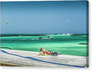 Curious Bikini Clad  Sunbather Canvas Print