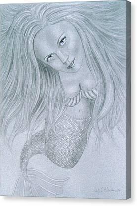 Curious Mermaid - Graphite And White Pastel Chalk Canvas Print by Nicole I Hamilton